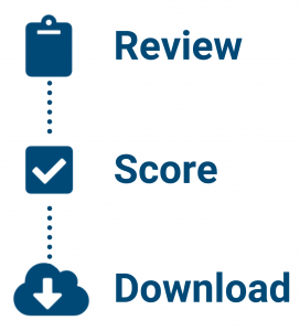 Image showing the three options jurors have: Review, Score, and Download