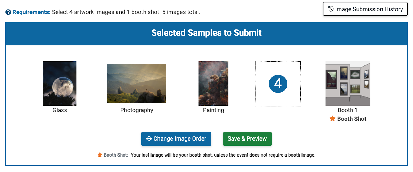 Image of the artist side of ZAPP, where applicants and add images to their applications