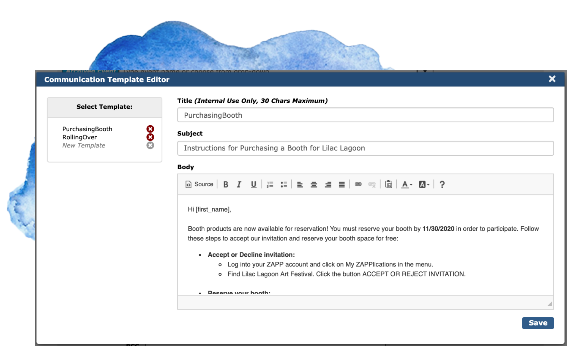 Image of the Communication Template Editor